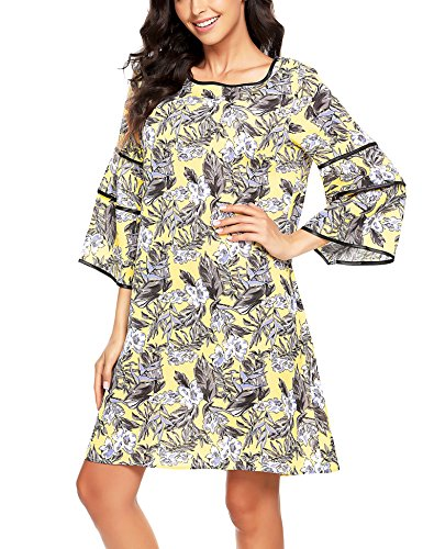 SE MIU Floral Ruffle Flare Bell Sleeve Casual Short Dress Print Women Summer 3/4 Sleeve Adorable Shift Dress