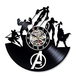 Wood Crafty Shop Avengers Marvel Superhero Team Art Vinyl Record Wall Clock Gift for Him and Her Unique Wall Decor The Best Gift Idea for Any Event Birthday Gift, Wedding Gift