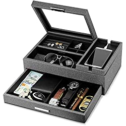 Lifomenz Co Men Accessories Organizer Catchall Tray with Removable Charging Station Organizer,Mens Jewelry Box Organizer with Drawer,Mens Valet Tray Nightstand Dresser Organizer