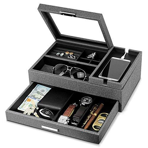 Lifomenz Co Men Accessories Organizer Catchall Tray with Removable Charging Station Organizer,Mens Jewelry Box Organizer with Drawer,Mens Valet Tray Nightstand Dresser Organizer (Leather Mens Valet Box)
