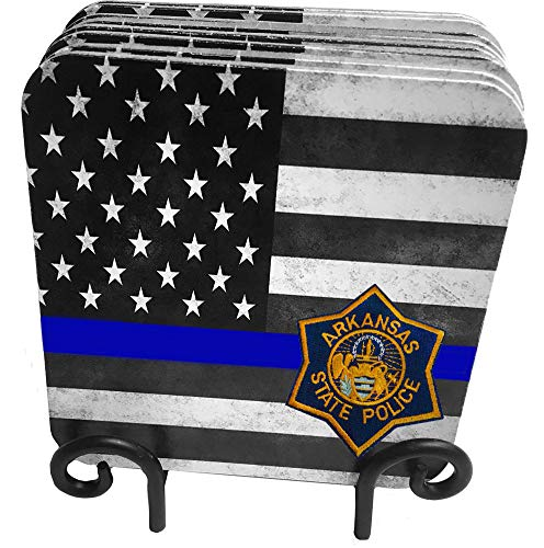 (50 States Highway Patrol, State Patrol, State Police 9 Pc Hardboard Coasters with Metal Stand (Arkansas))