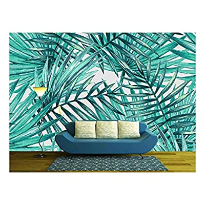 Watercolor Tropical Palm Leaves Seamless Pattern - Wall Murals