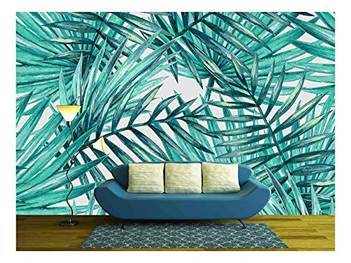 - wall26 - Watercolor Tropical Palm Leaves Seamless Pattern - Removable Wall Mural | Self-Adhesive Large Wallpaper - 100x144 inches