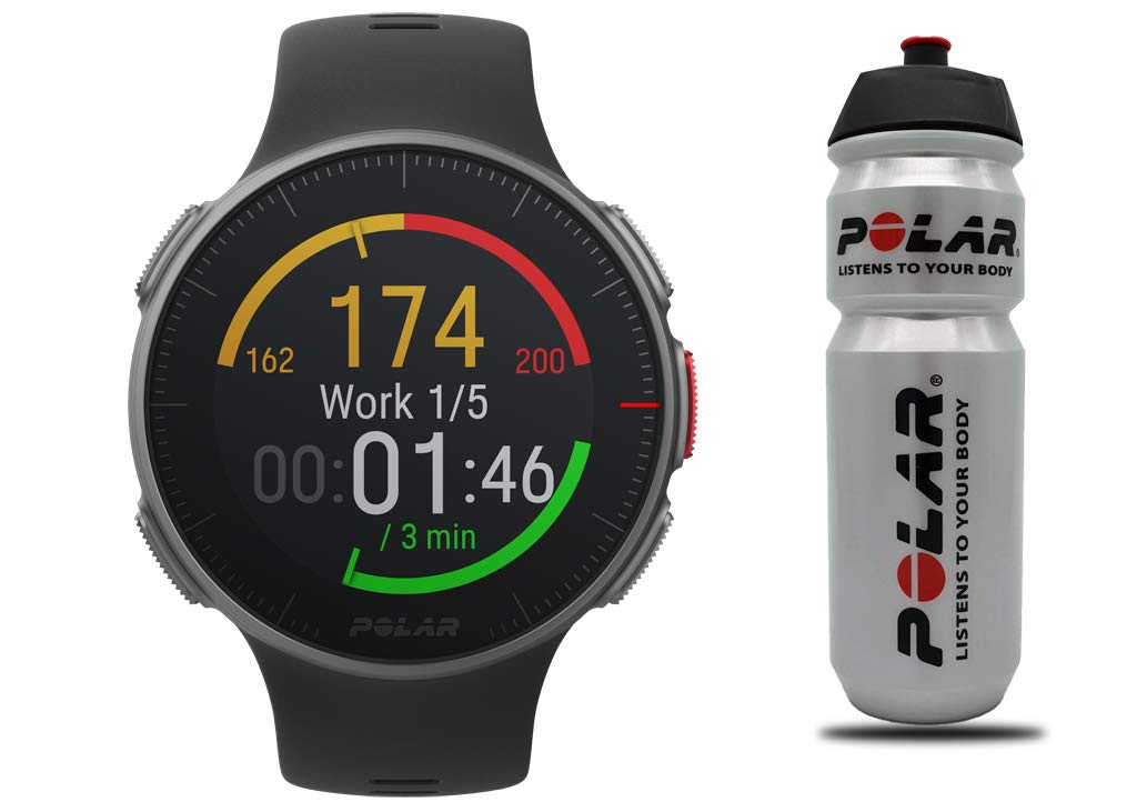 POLAR Vantage V Profi-Multisportuhr mit GPS Pulsuhr, Schwarz, M/L, Aktion inkl. Polar Trinkflasche