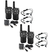 (4) Cobra CX112 16 Mile 22 Ch FRS/GMRS Walkie Talkie Two-Way Radios w/ Headsets