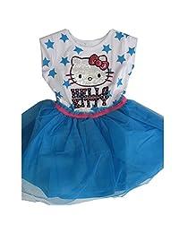 Hello Kitty Little Girls White Blue Star Print Sequin Applique Dress 4-6X