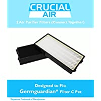 High Quality GermGuardian Filter C Pet, Fits 3-in-1 Air Cleaning Systems - 5000 Model Series, Compare to Part # FLT5250PT, Includes 2 Filters That Fit Together in Air Purifier, by Think Crucial