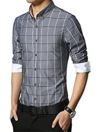 RubySports Big Boys Men's Grid Long Sleeve Button Down Shirt 4 Colors