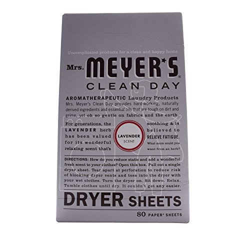 Mrs. Meyer's Clean Day Dryer Sheets, Lavender, 80 Compute