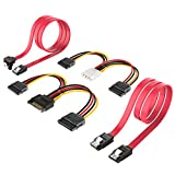 Inateck SSD / SATA III Hard Drive Connection Cables (1x 4 Pin to Dual 15 Pin SATA Power Splitter Cable, 1x 15 Pin to Dual 15 Pin SATA Power Splitter Cable, 2x SATA Data Cables), 4 Pack(ST1003)