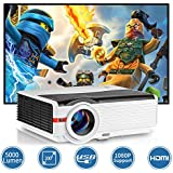 WIKISH Led Projector 5000 Lumen,Hdmi Usb Projector Support Full Hd 1080P 200 Inch Display,Compatible with Dvd Blu-ray Player Ps4 Pc Tv Box Hard Drive