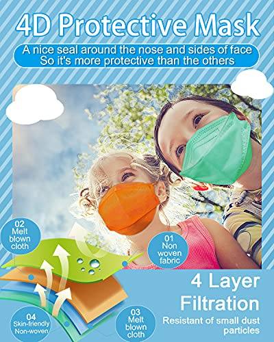Kids KF94 Masks for Children, Individual Wrapped Colored Mask Kid Sized, Small Soft Mask for Boys Girls, Comfortable Fit for Easy Breath Talk, Adjustable Nose Wire Mask 20 Packs