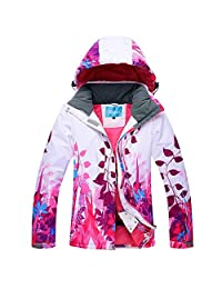 HOTIAN Women Colorful Ski Jacket Waterproof Warm Snow Jacket Outdoor Mountain Winter Coat