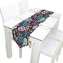 ALAZA - Camino de mesa para decoración del hogar, diseño de calavera mexicana, para decoración de bodas, banquetes, 33 x 178 cm, Blanco, 13x90, 1