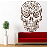 Floral Design Mexican Sugar Skull Home Decor Day of Dead Wall Decal Skeleton Wall Decal(Black,s)