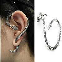 Sumanee Vintage Snake Wind Temptation Silver Ear Stud Gothic Punk Cuff Wrap Earrings JP