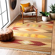 Safavieh Navajo Kilim Collection NVK177A Hand Woven Red and Multi Wool Area Rug (8' x