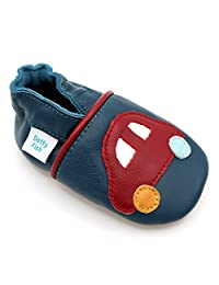 Dotty Fish Baby Boys Soft Leather Shoe with Suede Soles - Navy and Red Car