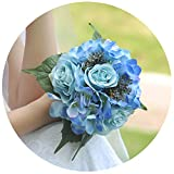 ULAPAN Wedding Bouquets for Bride,Bridal Bouquets Holding Flowers,Artificial Flowers for Wedding,Blue,F16