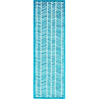 Modern Geometric 2 feet by 7 feet (2 x 7) Runner Metro Turquoise Contemporary Area Rug
