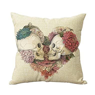 URDesigner Two Skulls in Love Cotton Linen Decorative Cushion Covers Vintage Skull Throw Pillow Cases for Sofa Hot Sale 18*18 Inches