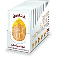 Honey Peanut Butter Squeeze Packs by Justin's, Gluten-free, Non-GMO, Vegan, Responsibly Sourced, Pack of 10 (1.15oz each)