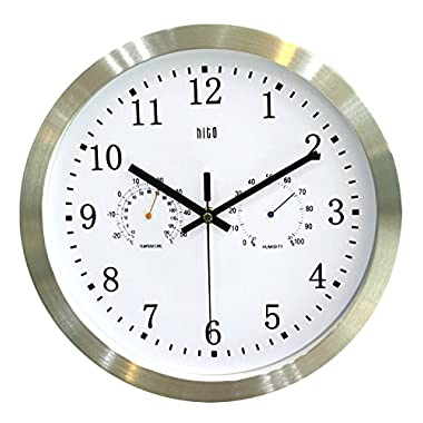 HITO 12 Inches Silent Non-ticking Wall Clock w/ Metal Frame and Acrylic Front Cover