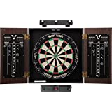 Viper Stadium Cabinet & Shot King Sisal/Bristle Dartboard Ready-to-Play Bundle with Two Sets of Steel-Tip Darts, Throw Line, and Dry Erase Scoreboards, Walnut Finish