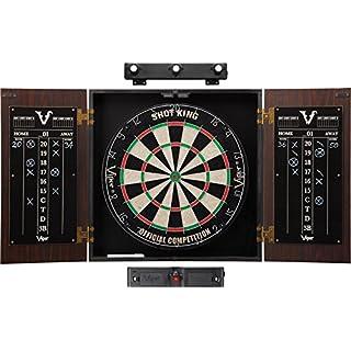 Viper Stadium Cabinet & Shot King Sisal/Bristle Dartboard Ready-to-Play Bundle: Elite Set (Shot King Dartboard, Darts, Shadow Buster and Laser Throw Line)