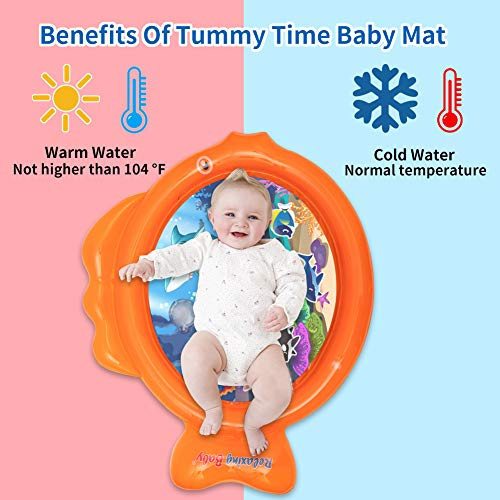 relaxing baby Inflatable Water Play Mat with Funny Call Tummy Time Water Mat Baby Toys for Infants /& Toddlers 3 6 9 Months and up Mat Promotes Visual Stimulation Water Mat Orange