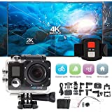 NXDA Waterproof 4K Dual Screen Wifi HD 1080P Sports Action Camera DVR Cam Camcorder (Black)