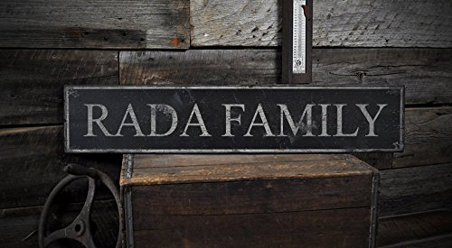 RADA FAMILY – Rustic Hand-Made Vintage Lastname Wooden Sign – 5.5 x 24 Inches