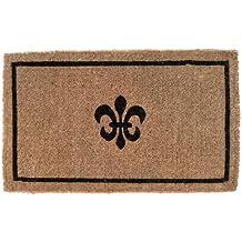 "Entryways Black Fleur Di Lys Handmade, Hand-Stenciled, All-Natural Coconut Fiber Coir Doormat 18"" X 30"" x 1.5"""