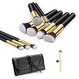 MUNION Makeup Brushes Kit Cosmetic Brushes Set PU Case 10 Pcs Foundation Kabuki Brushes Professional Blush Brush Eyeshadow Makeup Brush Tool