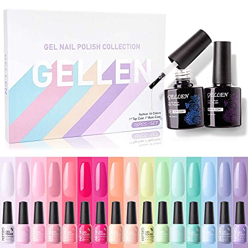 Gellen 16 Colors Gel Nail Polish Kit- With Top&Base Coats Classic Warm/Cool Pastels Nude Grays Tones, Trendy Natural Nail Art Designs Gel Polish Shades Starter Kit Home/Salon Manicure