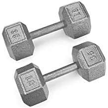 Crown Sporting Goods Pair (2) of Cast Iron Hex Dumbbells with Hammertone Finish (5-Pound)