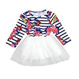 Yang-Yi Hot Fashion 2018 Toddler Baby Girls Floral Stripe Dress Lace Princess Tutu Dress Tuller Outfits