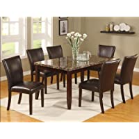 Brand New 7-pc Ferrara Dining Table (w/Marble Top) and 6 Dining Side Chair Set