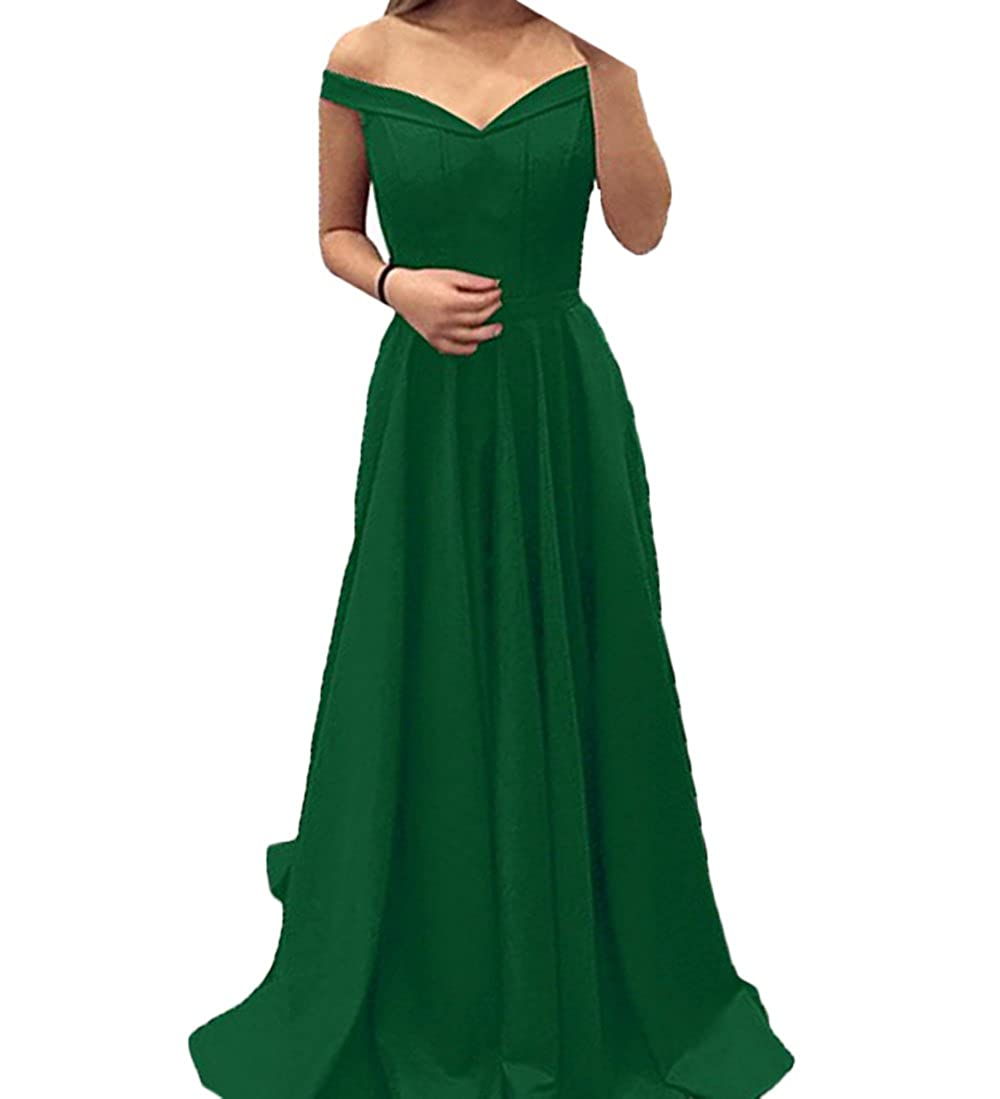 Green alilith.Z Sexy Off The Shoulder Satin Prom Dresses A Line Long Formal Evening Dresses Party Gowns for Women