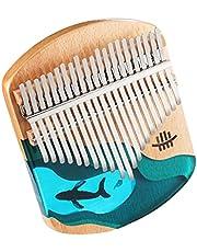 Hluru Kalimba Başparmak Piyano 21 Tuşlar Kayın Ağacı Başparmak Parmak Piyano Taşınabilir Müzik Aleti Mavi Okyanus Balina Desen Çocuklar için Yetişkinler Yeni Başlayanlar ile Tuning Çekiç Songbook MAYIS