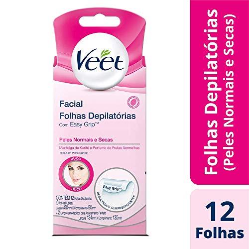 Cera Fria Facial Veet Peles Normais e Secas - 12 Folhas, Veet, 12 folhas