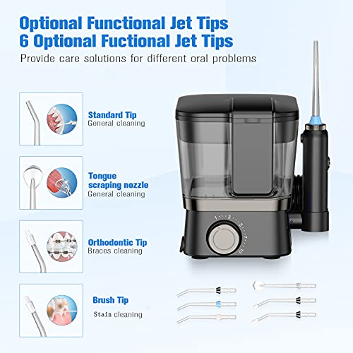 Water Flossers for Teeth, 600ml Dental Oral Irrigator with DIY Gear Knob, 6 Jet Tips, LED Display, 10 Modes, IPX7 Waterproof Professional Flosser for Braces Bridges Care Teeth Cleaner Family Use