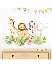 Little Deco Muursticker jungle motief met dieren bladeren en bloemen II muursticker babykamer meisjes muursticker kinderkamer jongen DL453