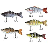 Lixada Fishing Bass Lure Multi Jointed Artificial Bait Segment Lifelike Trout Swimbait Hard Crankbait Treble Hooks
