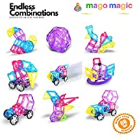 Magnetic Tiles, 78 Pcs Kids Magnetic Building Blocks -...