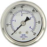 "PIC Gauge 202L-158D Glycerin Filled Industrial Center Back Mount Pressure Gauge with Stainless Steel Case, Brass Internals, Plastic Lens, 1-1/2"" Dial Size, 1/8"" Male NPT Connection Size, 0/60 psi Range"