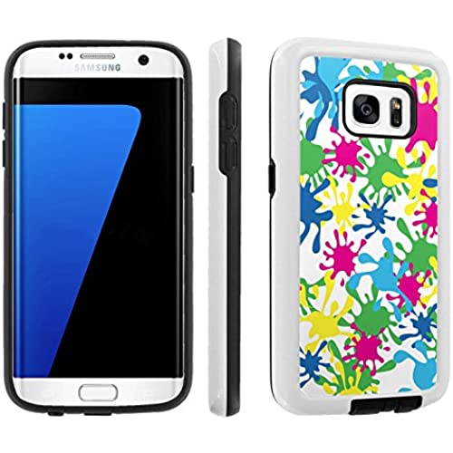 [Galaxy S7] [5.1 Screen] Armor Case [Skinguardz] [White/Black] Shock Absorbent Hybrid - [White Colorful Splash Sales