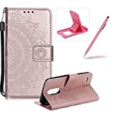 Strap Leather Case for LG G6,Rose Gold Wallet Cover for LG G6,Herzzer Classic Retro Pretty Mandala Flower Embossed Magnetic Closure Stand Shockproof Flip PU Leather Back Case with Soft Silicone