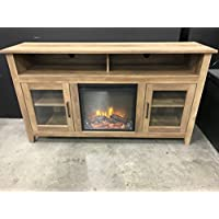 New 58 Inch Wood Highboy Fireplace TV Stand - Rustic Oak Color