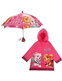 Nickelodeon - Conjunto de Ropa de Lluvia y Paraguas para niña, diseño de la Patrulla Canina, Color Rosa